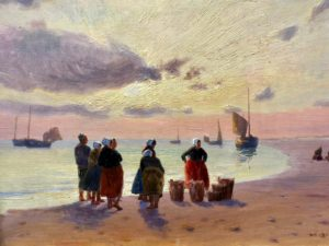 Berck-sur-mer-musee-opale-sud-charles-roussel-scene-de-plage-soleil-couchant