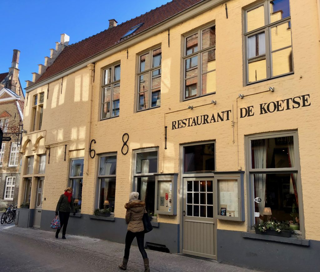 Façade restaurant De Koetse Bruges Belgique