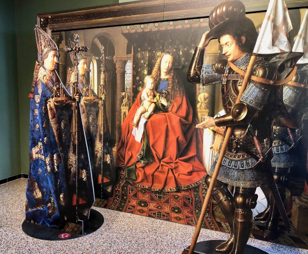 Historium de Bruges Belgique - reproduction du tableau La Vierge au chanoine Van der Paele de Jan Van Eyck