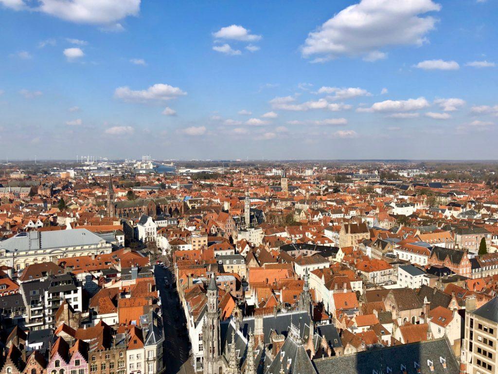Beffroi de Bruges Belgique - vue panoramique du sommet