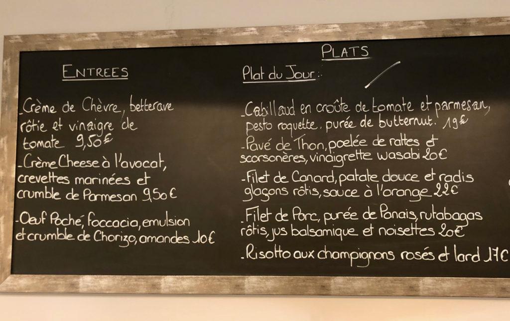 Menu à l'ardoise restaurant L'Epicure La Madeleine Nord France