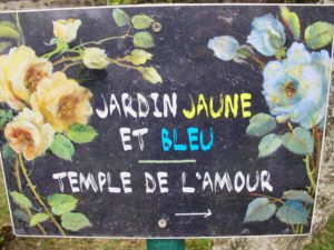 Panneau Jardin jaune et bleu - Jardins Henri le Sidaner Gerberoy Oise