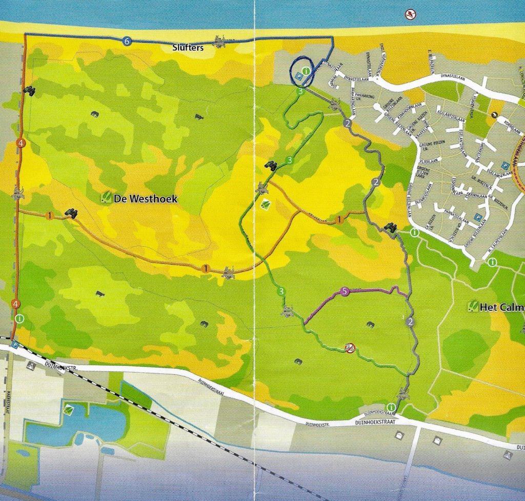 Plan sentiers balisés réserve naturelle Westhoek La Panne Belgique