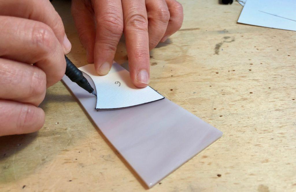 Verronimo fabrication vitrail Tiffany detourage gabarit