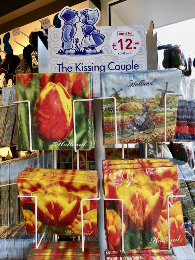 Serviettes en papier avec tulipes magasin souvenirs - Keukenhof Pays-Bas