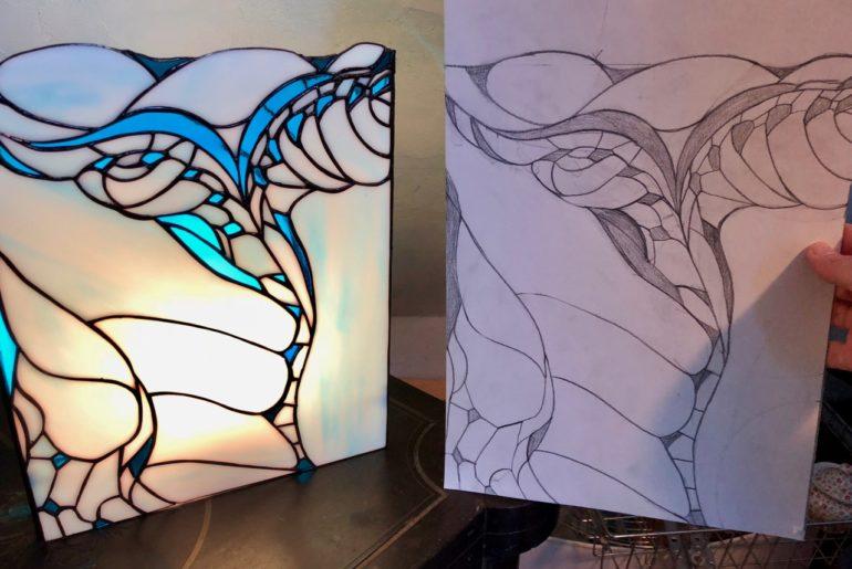 Verronimo fabrication vitrail Tiffany etape dessin