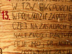Pologne Gdansk ECS musee Solidarnosc panneaux bois revendications greve chantiers navals Gdansk