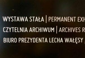 Pologne Gdansk ECS musee Solidarnosc plaque ascenseur bureau Lech Walesa