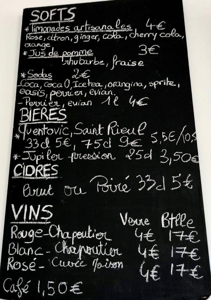 Burger fermier des Enfants rouges Le Touquet - carte boissons