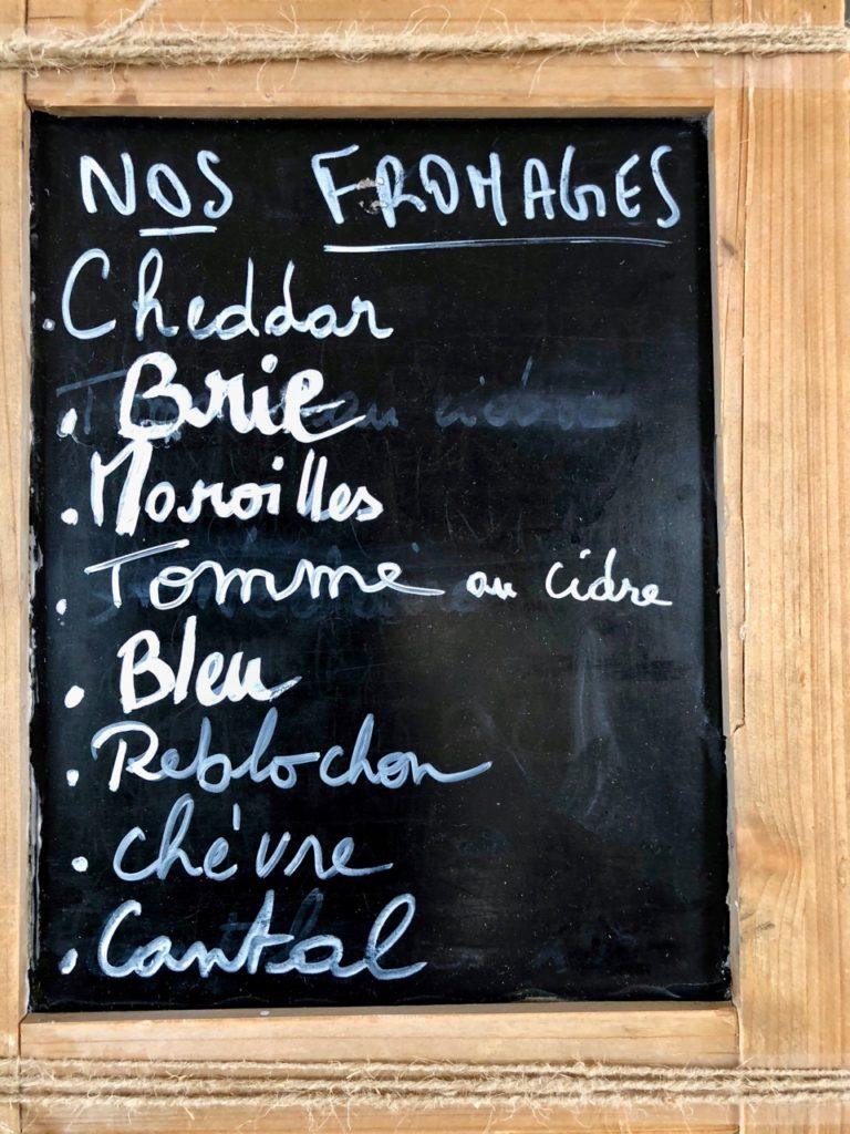 Burger fermier des Enfants rouges Le Touquet - carte fromages