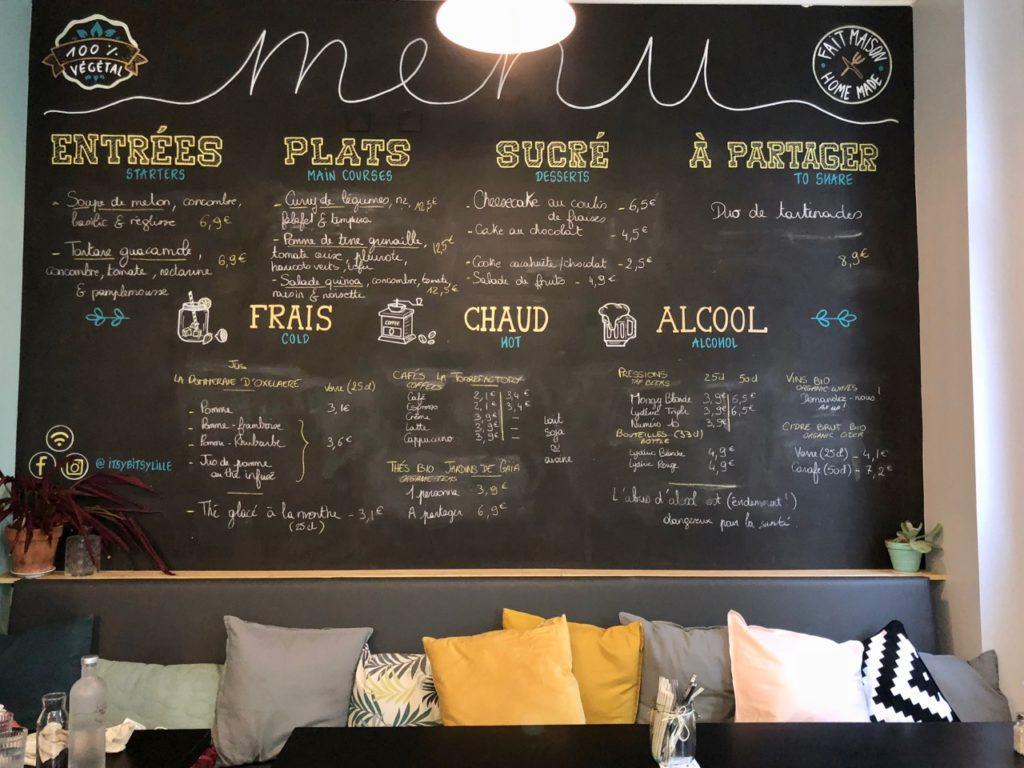 Itsy Bitsy Lille -tableau noir menu