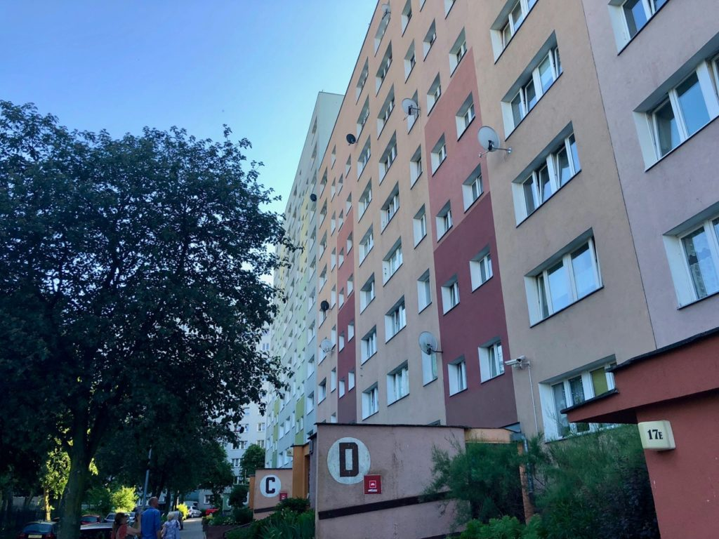 Pologne Gdansk quartier Zaspa immeuble Walesa