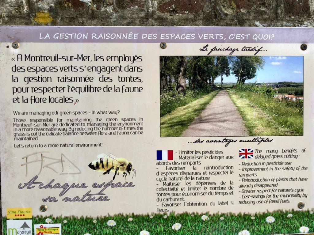 Montreuil-sur-Mer panneau gestion raisonnée espaces verts