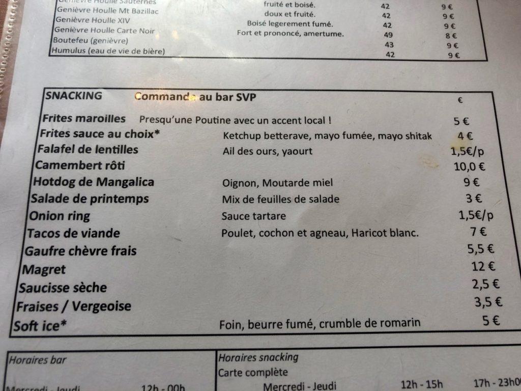 Bierbuik Lille menu snacking