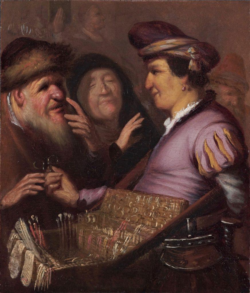 Rembrandt-A-Peddler-Selling-Spectacles-Museum-De-Lakenhal-Leiden
