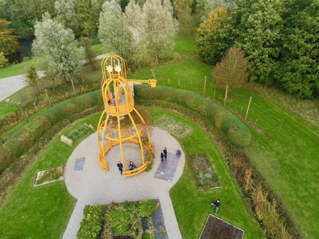 Jardin flamand parc Mosaïc vu au drône