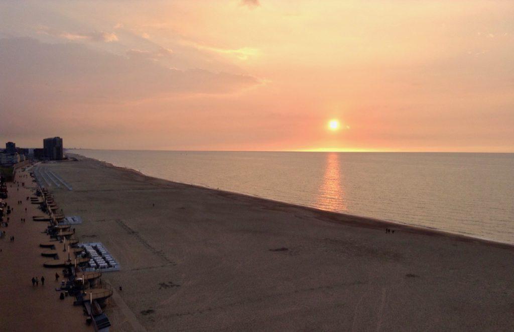 Cote belge Ostende coucher de soleil