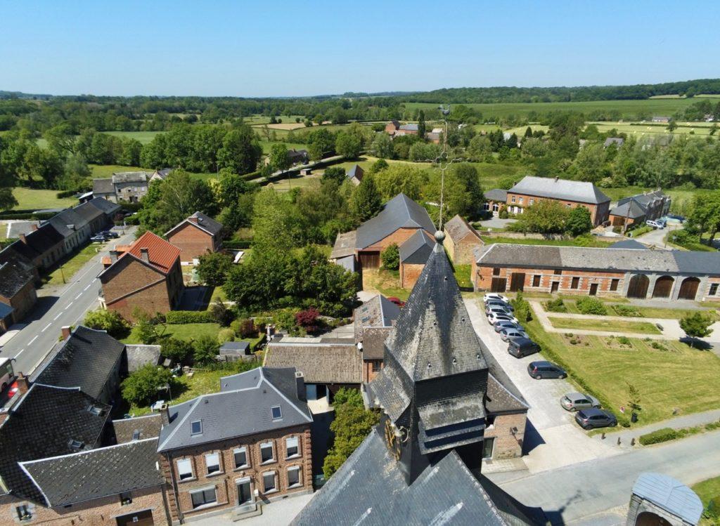 Liessies nord église vue au drone