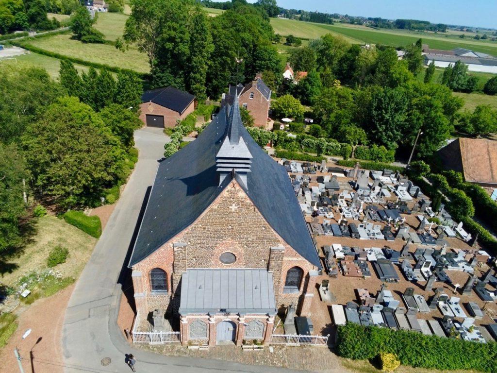 Eglise Oxelaere Nord vue au drone
