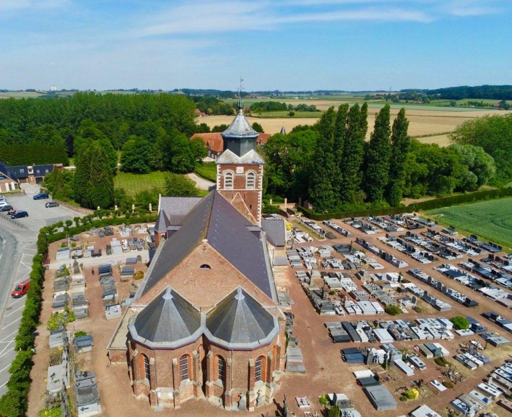 Eglise de Renescure arrière vue au drone