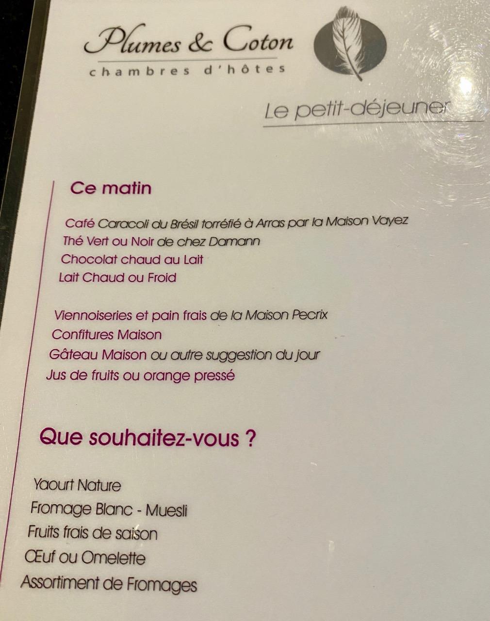 Chambres-d-hotes-Plumes-et-Coton-Ecurie-menu-petit-dejeuner