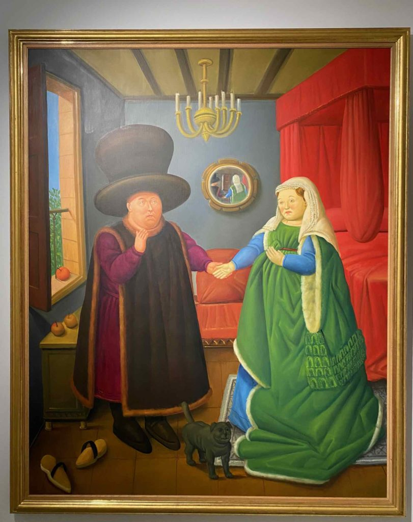 Fernando-Botero-Les-Epoux-Arnolfini-d-apres-Van-Eyck-2006-collection-privee-expo-BAM-Mons